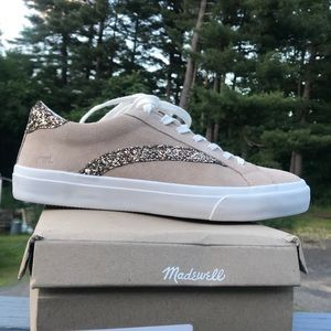 Madewell low top sneakers in suede/glitter